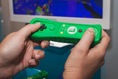Close up of green Nintendo Wii mini controller — Stock Photo