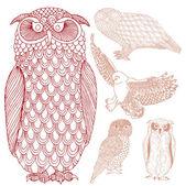 フクロウのグループ — ストックベクタ