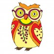 Funny owl with glasses — Stock Vector