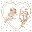 Valentine Owls — Vector de stock