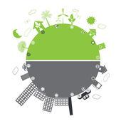 Green life vs. pollution — Stock Vector