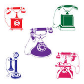Vintage phones collection — Stock Vector