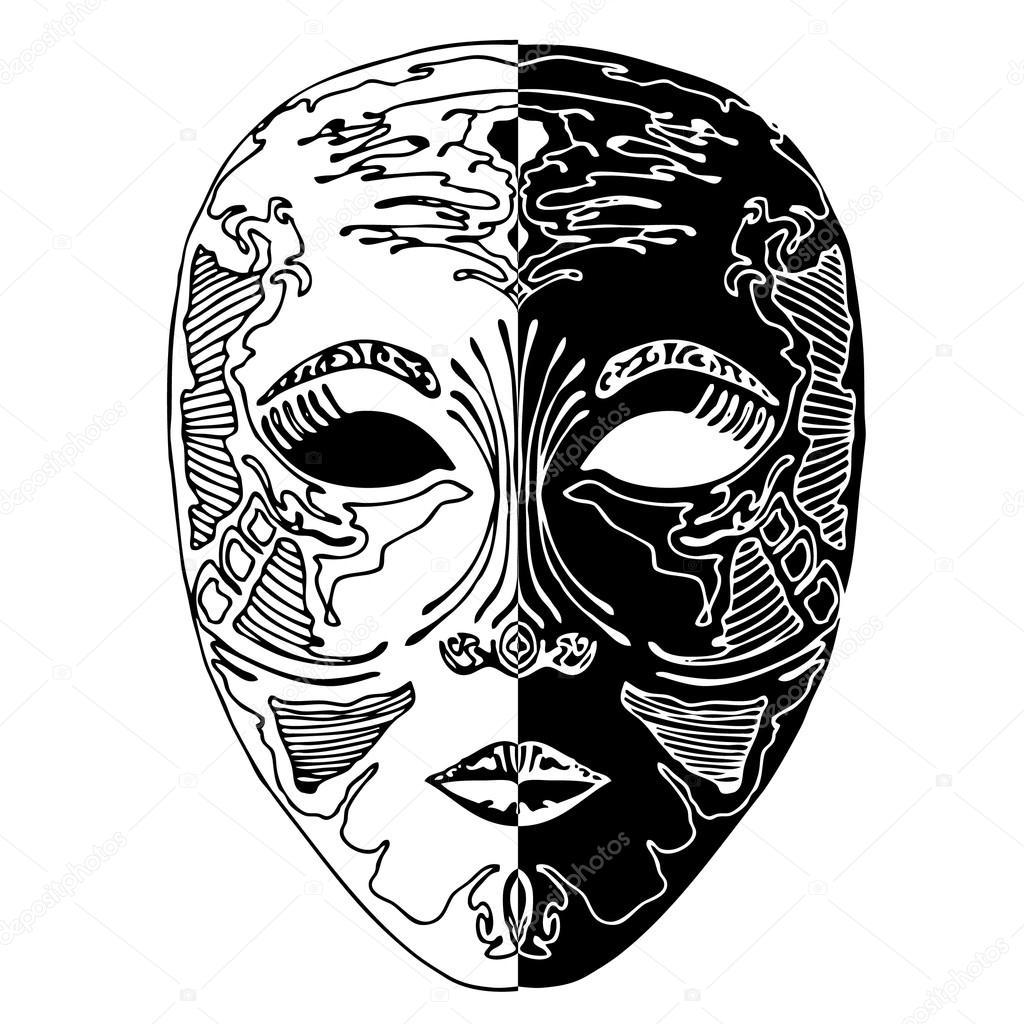 Рисунок черно белых масок
