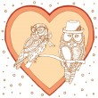 Owls within heart — Stockvector  #18279803