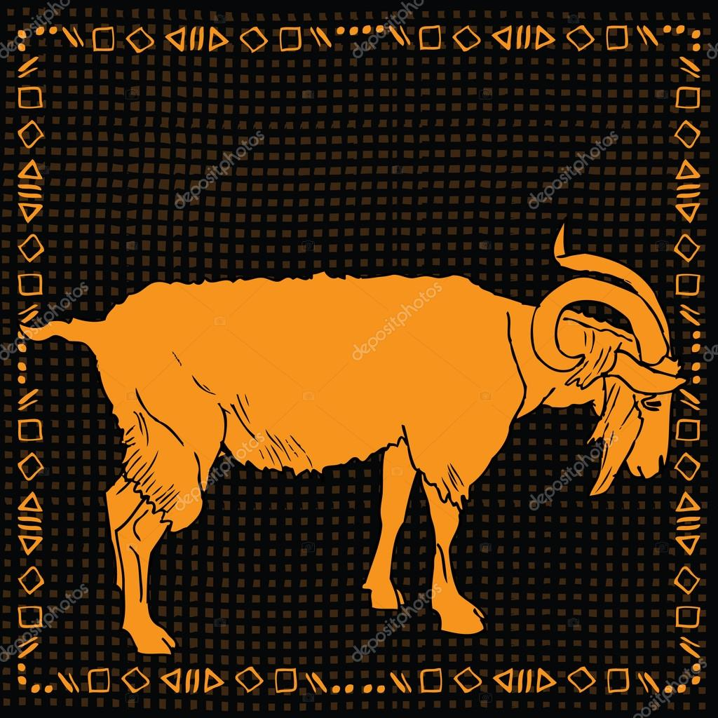 Capricorn horoscope sign vectorized hand draw on black pattern background with gold frame  Stock Vector #19013179