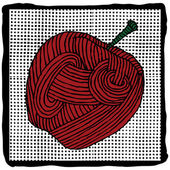 Red apple label — Stock Vector