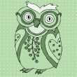 Cute green owl — Stock Vector