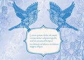 Invitation card with birds — Stock Vector