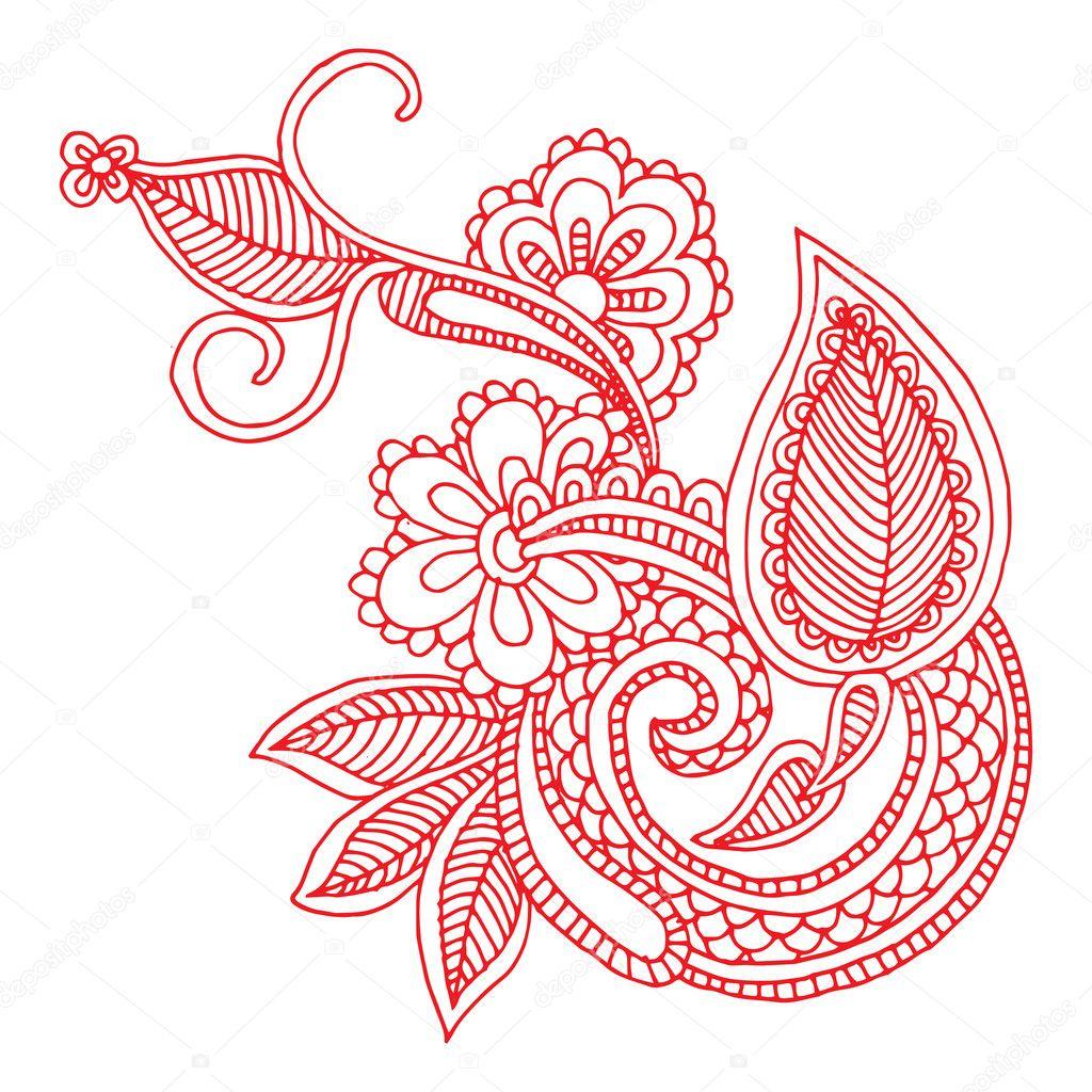 Floral Art Line Design : Hand draw line art ornate flower design — stock vector