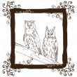 Two Owls on the branch — Imagens vectoriais em stock
