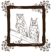 Two Owls on the branch — Stock Vector