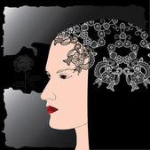 Female head profile — Stock Vector