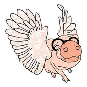 Pig illustration with wings — Stock Vector