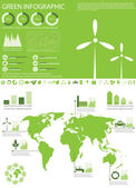 Green ecology info graphics collection — Stock Vector
