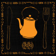 Royalty-Free Stock Imagem Vetorial: Tea pot with spoon and fork
