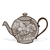 Tea pot with floral decoration — Stock Vector
