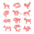 Red Chinese zodiac collection — Stock Vector #28335921