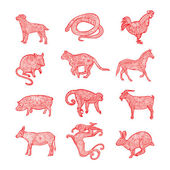 Red Chinese zodiac collection — Stock Vector