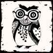 Black and white Owl illustration — Stock Vector