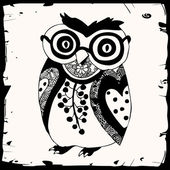 Sowa czarno-biały ilustracja — Wektor stockowy