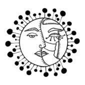 Sun and Moon card — Stock Vector