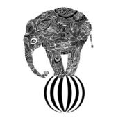 Stylized fantasy patterned elephant standin on a ball — Stock Vector