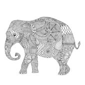 Stylized fantasy patterned elephant — Stock Vector