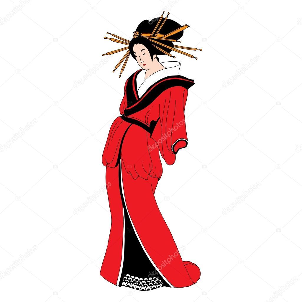 femme japonaise en robe traditionnelle image vectorielle. Black Bedroom Furniture Sets. Home Design Ideas