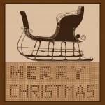 Winter sleigh Mwrry Christmas card — Stock Vector