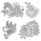 Neckline embroidery designs — Stock Vector