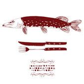 Freshwater pike menu label — Stock Vector
