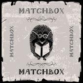 Hedgehog reading matchbox — Stock Vector