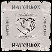 Heart matchbox — Stock Vector
