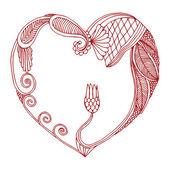 Ornamented Heart frame — Stock Vector