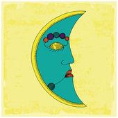 Moon face — Stock Vector