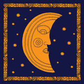 Gold moon on night sky — Stock Vector