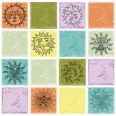 Set of Sun illustration — Stock Vector