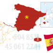 Stock Vector: Map of Spain
