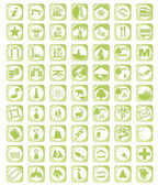 Green map icon set — Stock Vector