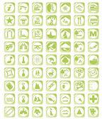 Green map icon set — Stock Vector
