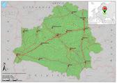 Belarus road relief map — Stock Vector