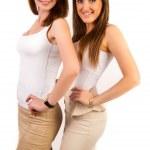 Portrait of beautiful girls posing on white background — Stock Photo