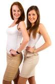 Portrait de belles filles posant sur fond blanc — Photo