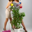 Portrait of sexy girls posing in studio with plants — Stock Photo #30019363