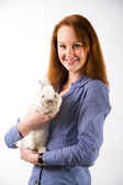 Portrait of sexy woman with rabbit — Stock Photo