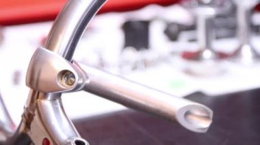 Footage of some metal elements for bicycle — Stock Video