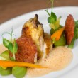 Stockfoto: Image of tasty chicken with vegetables in dish in restaurant