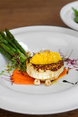 Image of tasty italian food with asparagus served in restaurant — Stock Photo
