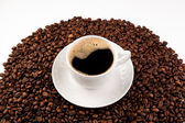 Cup of black coffee with foam — Stock Photo