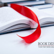 Open book whith red bookmark — Stock fotografie #37083597